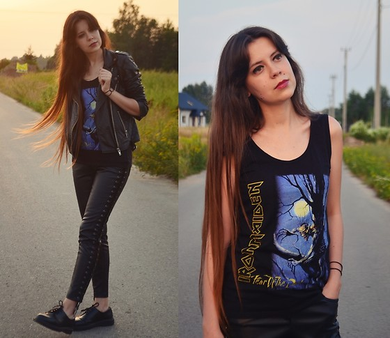 Isabel O - Iron Maiden Top, Mango Leather Jacket, Mohito Leather Trousers, Dr. Martens - Moonchild