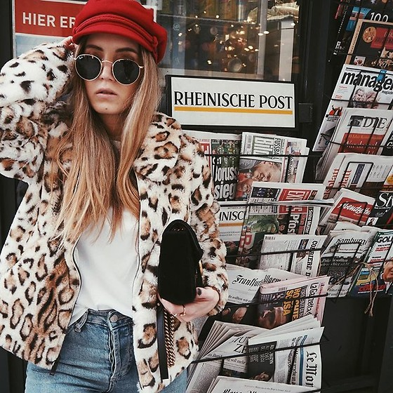 Fashiontwinstinct - Asos Baker Boy Hat, Asos Leo Jacket, Gucci Bag - Red Baker Boy Hat x Leo Fur Jacket.