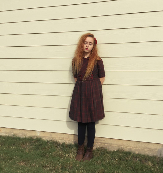 Emily Elizabeth - Vintage Dress, Target Leather Boots - Sadness Is a Blessing