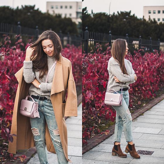 Gabriela Grębska - Lookbook Store Coat, Zaful Sweater, Medicine Belt, Oasap Jeans, Lasocki Boots, Gawor Bag - Autumn outfit