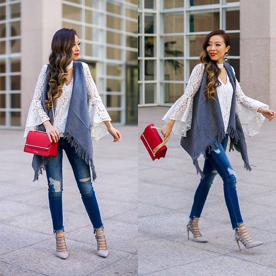 Sasa Zoe - Less Than $70 Vest, Bell Sleeve Lace Top, Less Than $60 Jeans, Earrings, Bag, Heels - FRINGE VEST