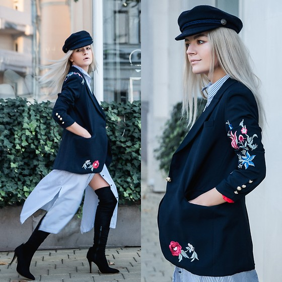 Cristina Tabun - Zaful Blazer, Zaful Dress, Zaful Hat - Embroidered Blazer