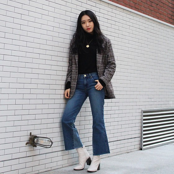 Seoha Park -  - BLAZER AND BOOT CUT JEANS