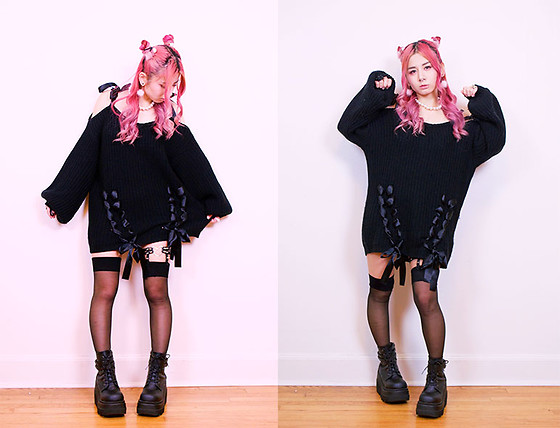 Lovely Blasphemy - Ank Rouge Black Oversized Knit Sweater With Ribbons, Demonia Shaker 52 Black Wedge Platform Boots, Creepyyeha Black Heart Garter, Tralala Pearl Necklace, 3 Coins Pink Fluffy Heart Earrings, 3 Coins Pink Hair Ties - Invisible things are the only realities