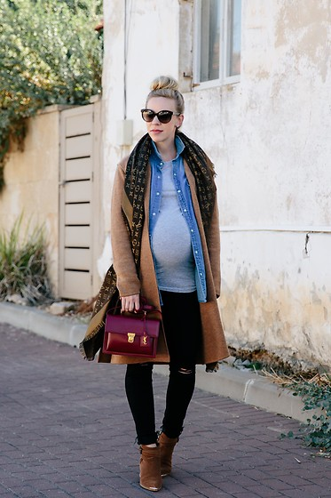 Meagan Brandon - Madewell Coat, Denim Shirt, Black Maternity Jeans, Marc Fisher Boots - Layered Look for Fall