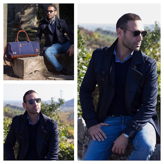 Stefano Zulian - Soorty Enterprises Denim, Daniele Alessandrini Trench, Nara Camicie Shirt, Hawkers Sunglasses, Mahi Leather Bag - Gentlemen in blue