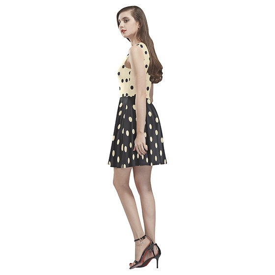 LemoBoy - Lemoboy Retro Beige Black Dots Skater Women's Dress - Retro Beige Black Dots Skater Women's Dress