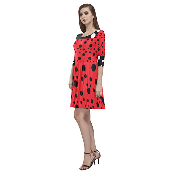 LemoBoy - Lemoboy Dotted Ladybug Half Sleeve Skater Women's Dress - Dotted Ladybug Half-Sleeve Skater Women's Dress