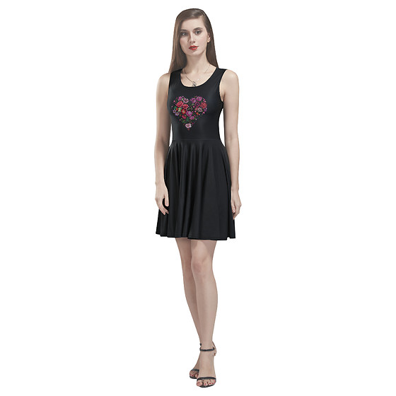 LemoBoy - Lemoboy Flora Heart In Black Skater Women's Dress - Flora Heart in Black Skater Women's Dress