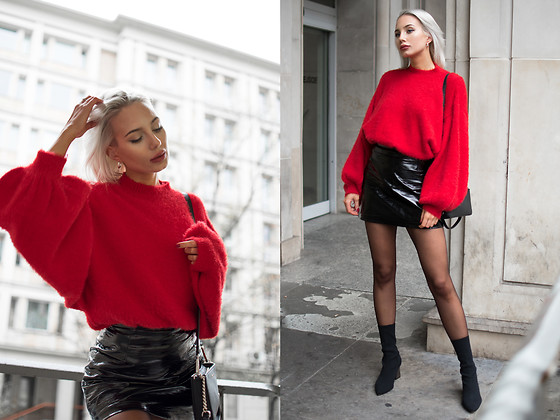 MONIKA S - Red Fluffy Turtleneck Sweater, Patent Leather Skirt, Leather Mini Clutch, Stretch Fabric High Heel Boots - I FEEL YOU