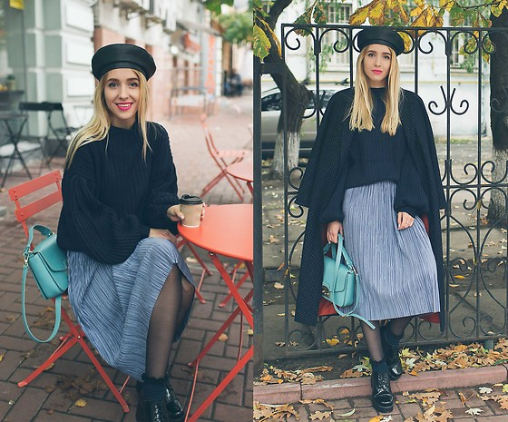 Anna Pogribnyak - Na Kd Sweater, Na Kd Skirt - Balloon sleeve sweater and leather beret