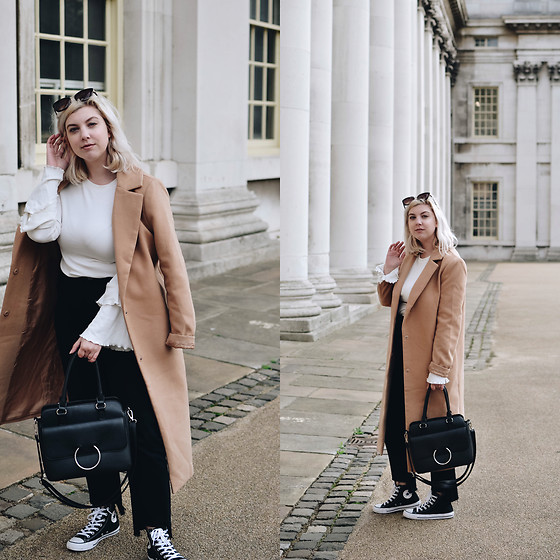 Elizabeth Claire - Whowhatwear X Target Bell Sleeve Top, Forever 21 Camel Coat, Boohoo Black Raw Hem Jeans, Converse Black High Top Sneakers, Target Black Ring Bag - Greenwich