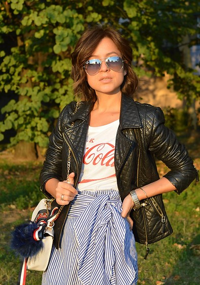 Marija M. - C&A Faux Leather Jacket, Terranova Coca Cola T Shirt, Zaful Striped Ruffled Skirt - Fall golden hour