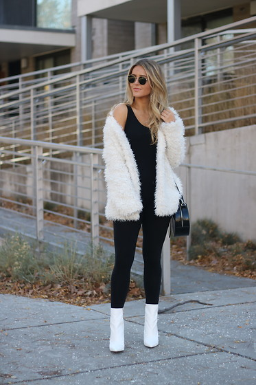 Amber Wilkerson - Pac Sun Jacket, Express Bag, Public Desire Booties, Ray Ban Sunnies - White on Black