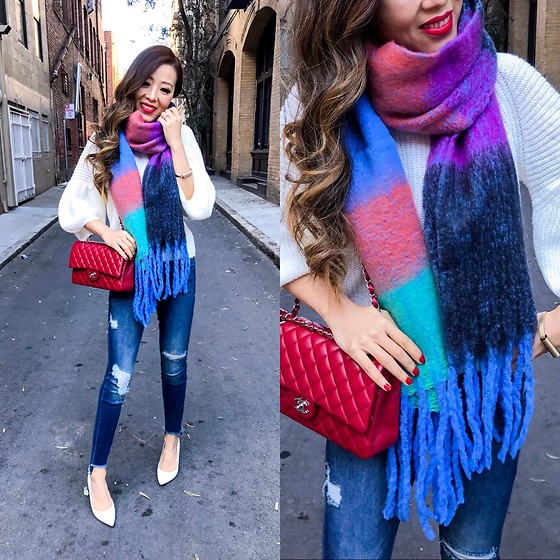 Sasa Zoe - Scarf, Sweater, Jeans, Heels, Bag - RAINBOWS AND BUBBLES