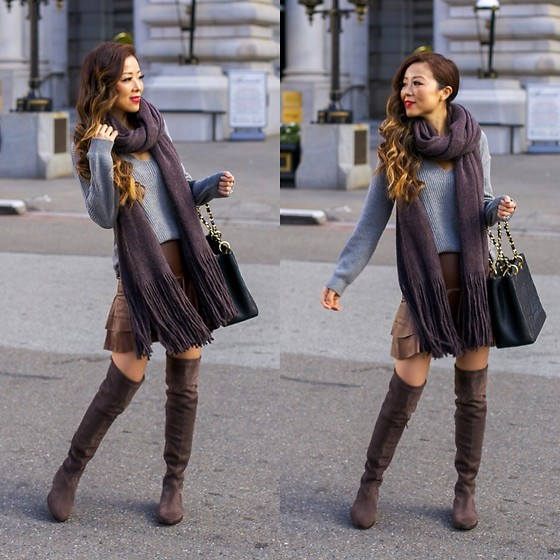 Sasa Zoe - Sweater, Scarf, Skirt, Bag, Otk Boots - THANKSGIVING OUTFIT IDEA