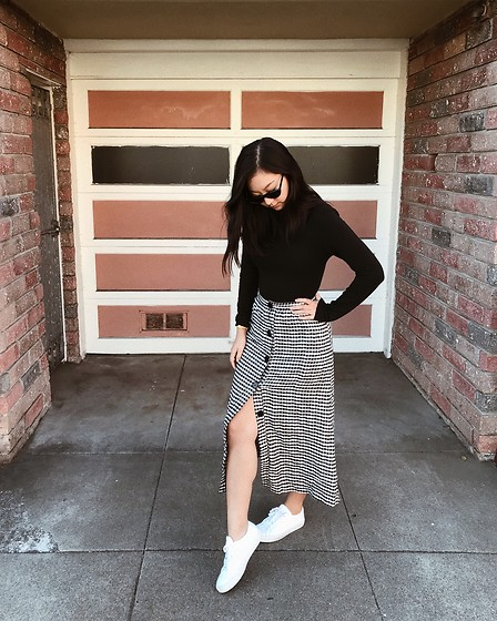 Tiffany Wang - Reformation Skirt, Madewell Turtleneck, Common Projects Sneakers - PICNIC PRINTS