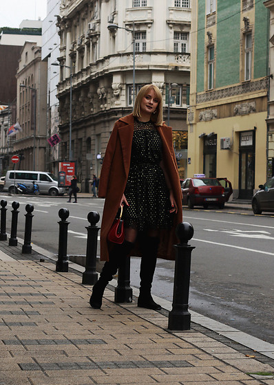 Ana Vukosavljevic - Tom Tailor Dress, Zaful Coat, Vipme Boots, Vintage Bag - Add Some Sparkle To Your Everyday Look