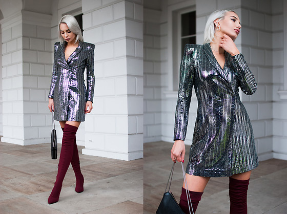MONIKA S - Metallic Blazer Dress, Over The Knee Wine Red Boots, Leather Clutch With Chain - LOSE YOURSELF TO DANCE