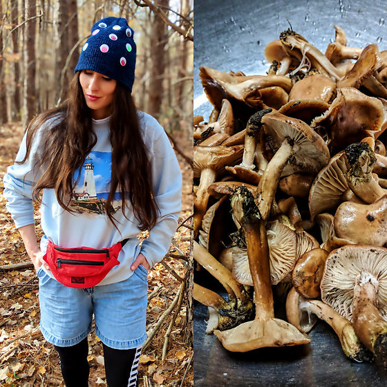 Tia - Diy Googly Eye Hat, Thrifted Vintage 80s Lighthouse Sweatshirt, Thrifted Fannypack, Thrifted 90s Shorts, Thrifted Leggings, Foraged From The Woods Of Asheboro, North Carolina Ringless Honey Mushrooms - Outfit I wore mushroom hunting!