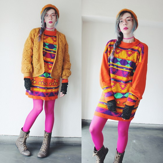 Candy Thorne - Thrifted Sweater, Thrifted Jacket, Forever 21 Boots, Ebay Beret - Art teacher