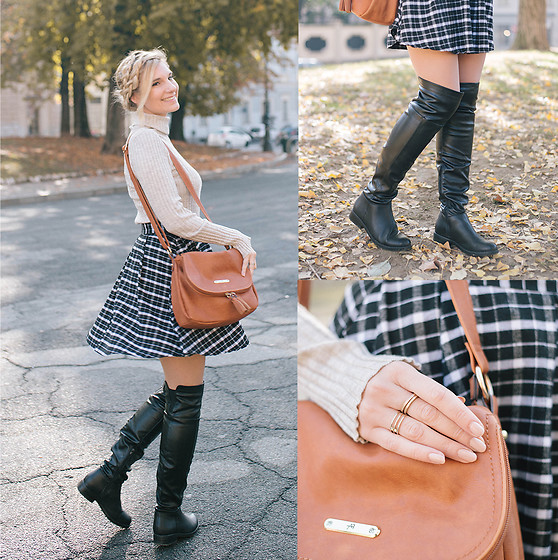 Cristina Siccardi - Ovs Tartan Skirt, Even&Odd Over The Knee Leather Boots, Forever21 Cream Neck Top, Anna Field Brown Leather Bag - Tartan Twist