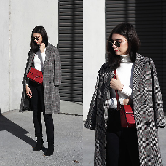 CLAUDIA Holynights - Romwe Sweater, Shein Coat, Vipshop Bag - White, black and check.