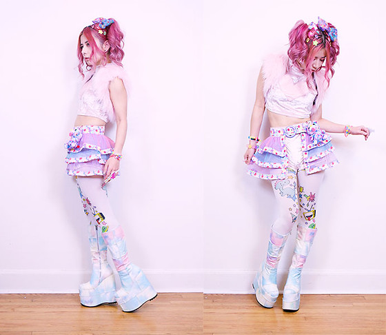 Lovely Blasphemy - 6%Dokidoki Accessories, Pawstar Pink Fuzzy Shrug, 6%Dokidoki Skirt, 24hrs Velvet Lovin' Crop Top, 24hrs Velvet Lovin' Shorts, Galaxxxy スターウォッチタイツ, Current Mood Deep Dive Platform Boots - Kawaii monster