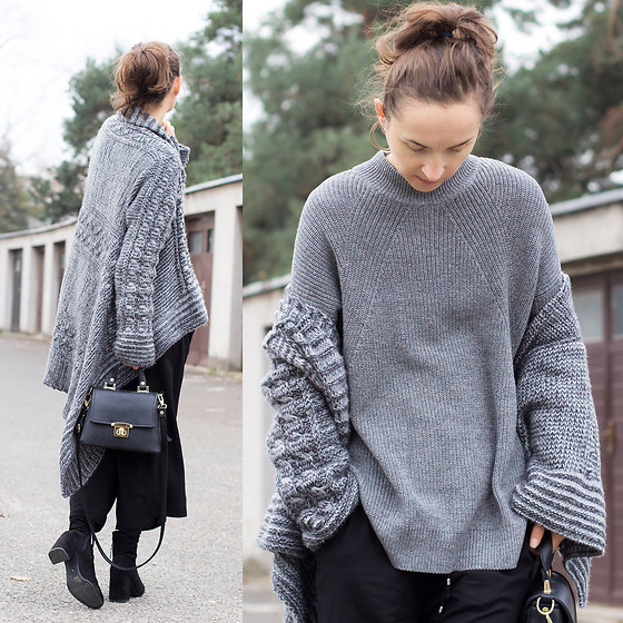 Iva K - H&M Sweater, H&M Pants, Bershka Boots - Gray on gray
