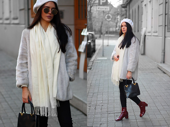 Justyna Lis - Zara Red Boots, Guess Black Pants, H&M Wool Scarf, H&M Sunnies - White beret & fur coat