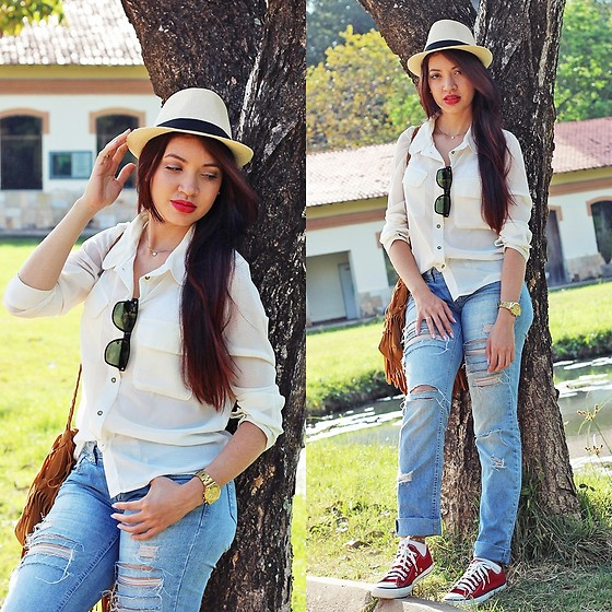 Suene Fernandes -  - Casual Hat Fedora 🌼 White + Blue + Red