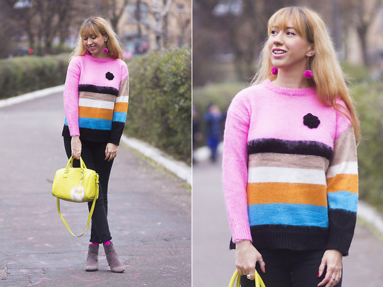 Julia F. - Pompom Earrings, Zaful Fuzzy Colorful Striped Sweater, Topshop Jeans, Bershka Bag, Stradivarius Fur Keyring, Zara Boots - Not winter colors