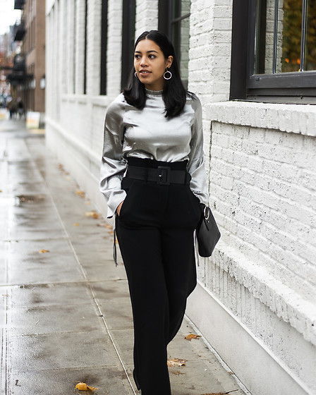 Kim Seidensticker - Pixie Market Silver Satin Blouse, Parisa Wang Addicted Bag, Aritzia High Waisted Pants - Holiday Outfit: The Office Party