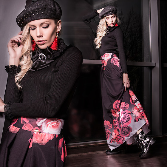 Dora D. - Studded Beret, Bow Bross, Roses Maxi Skirt, Studded Ankle Boots - Make the winter magical