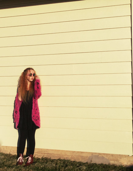 Emily Elizabeth - Target Pink Fuzzy Sweater, Target Black Dress, Doc Martens, Pink Sunglasses - How To Be A Heartbreaker