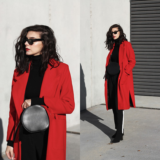 CLAUDIA Holynights - Vipshop Red Coat, Vopshop Bag, In The Style Pants - Black and red