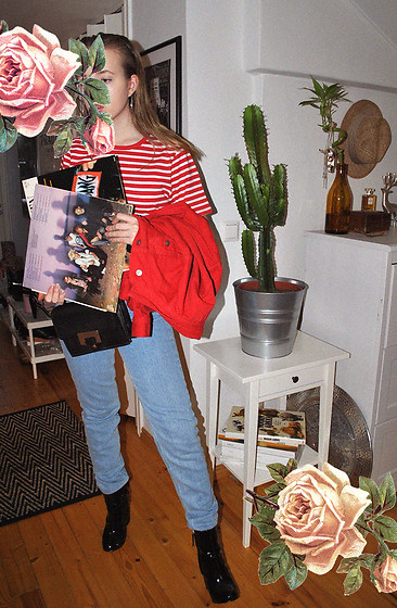 Noora V - Vendi Striped T Shirt, H&M Red Denim Jackets, Lumi Bag, American Apparel Jeans, H&M Boots - 100