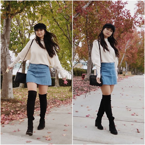 Michelle Kim - Brixton Hat, Zara Batwing Sweater, Zara Denim Skirt, Asos Black Knee High Boots, Rebecca Minkoff Black Crossbody Purse - Winter in Cali.