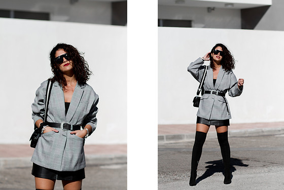 Maray - Zaful Blazer, Pull & Bear Belt, Bershka Skirt, Carolina Boix Boots, Zaful Sunglasses, Zara Bag - Blazer Oversize