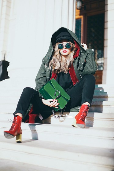 Queen Horsfall - Mango Parka, Public Desire Similar, Gucci Similar, New Look, Nasty Gal - Christmas Style