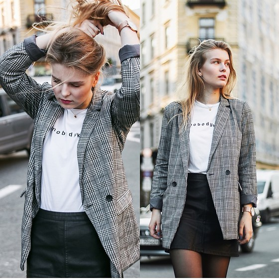 Asia Twaróg - Sinsay Suit, Pull & Bear T Shirt, New Look Leather Skirt - American Dream