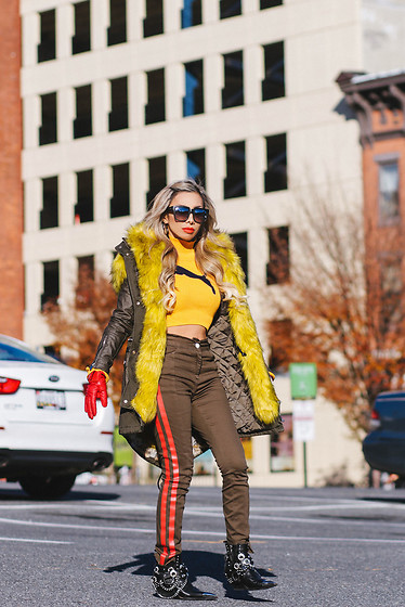 Eliza Romero - River Island Faux Fur Trimmed Parka, Asos Khaki Skinny Jeans With Red Side Stripe, Jeffrey Campbell Black Hawthorne Boots, River Island Red Leather Faux Fur Lined Gloves, Puma Fenty By Rihanna Cropped Turtleneck Sweater, Quay On The Prowl Sunnies - Puma Fenty By Rihanna