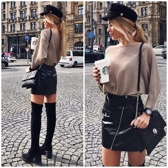 Anastasia Kotliar - Topshop Overknee Boots, H&M Skirt, Zara Sweater, Mango Bag, Pull & Bear Cap - But first coffee