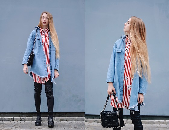 Lisa - Zaful Denim Long Shirt, Zaful Red Striped Shirt, Zara Bag - Denim long shirt