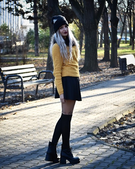 Raluca M - Deluatro Black Boots, Bershka Black Skirt, Sosetaria Socks Music, Massimo Dutti Sweater, Sinsay Cat Ears Hat, Bershka Scarf Black - Warm winter day