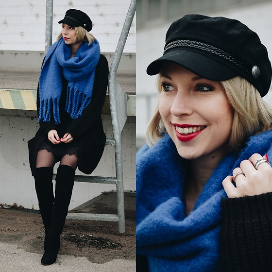 Lavie Deboite - Zara Blue Scarf, H&M Cardigan, H&M Overknees, H&M Baker Boy Hat, Reserved Black Dress - All in Black Look with blue scarf