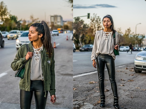Konstantina Antoniadou - Nordstrom Trousers, Nordstrom Lace Up Sweater, American Eagle Outfitters Military Jacket, American Eagle Outfitters Military Jacket Similar, Nasty Gal Studded Boots / Under $70, Asos Studded Boots / Under $100, Buckle Studded Boots / Under $40 - Leather trousers and Studded boots