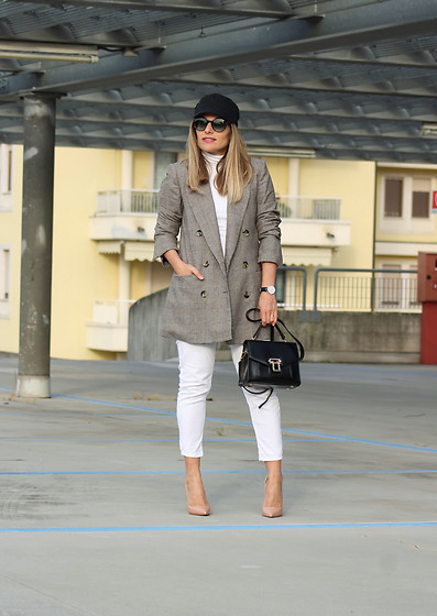 Eniwhere Fashion - H&M Hat, Zara Prince Of Wales Jacket, Zara White Pants, Fsj Shoes Nude Heels, Rosegal Black Bag - Prince of Wales jacket