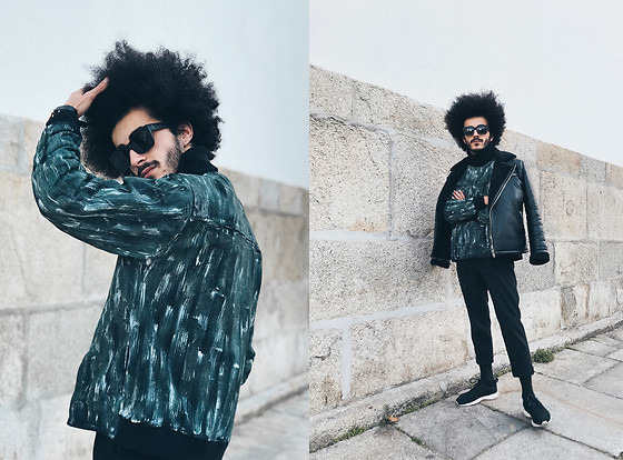Marco Moura - Hugo Costa Label Hand Painted Sweatshirt, Zara Pants, Nike Sneakers, Zara Leather Jacket - Hand Painted