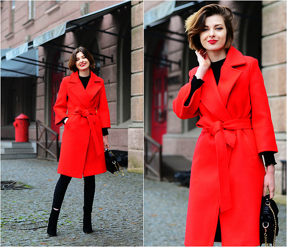 Malinina-ek - - Metisu Coat, Romwe Pants - Red coat